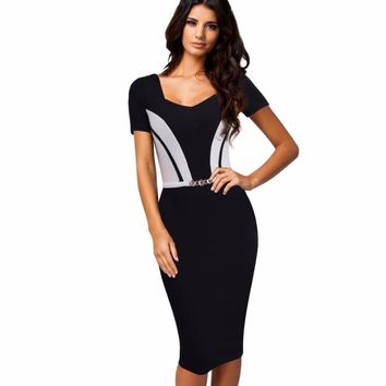 Women Elegant Contract ColorBlock Short Sleeves Summer Dress Casual Formal Office Business Sheath Bodycon Work Dress EB371