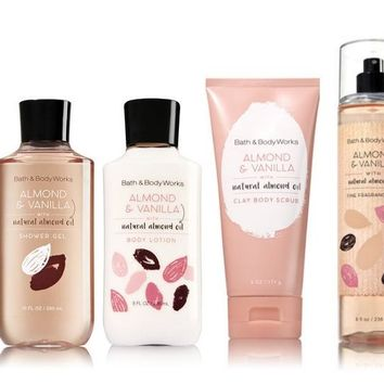 4 SET Bath & Body Works ALMOND & VANILLA Collection