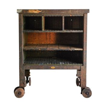 Pre-owned Vintage Industrial Rolling Factory Cart