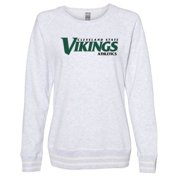 Official NCAA Cleveland State Vikings PPCVU10 Women's Crewneck Sweatshirt with White Striped Edges