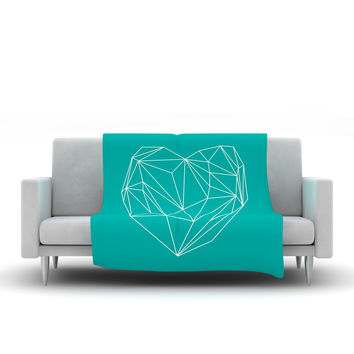 """Mareike Boehmer """"Heart Graphic Turquoise"""" Teal Abstract Fleece Throw Blanket"""