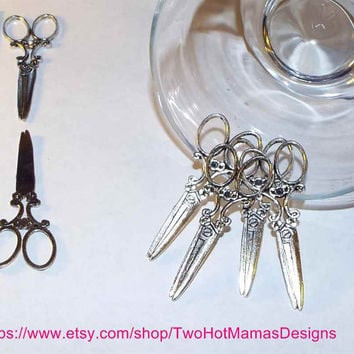 Antique Silver Large Scissors Charms 26x62mm DIY Pendant