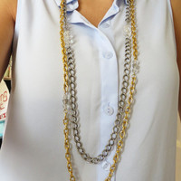 Long Gold and Gunmetal with AB Crystals Layering Chain Necklace, double layer strand with closure