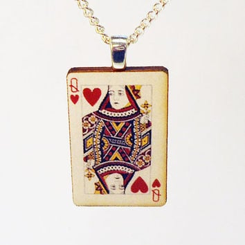 Queen of hearts vintage style playing card pendant with silver bail and chain