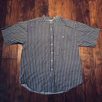 Bugle Boy × Vintage Vintage 1990s 90s Bugle Boy Company Mandarin Collar Navy Blue Striped Button Up Shirt Mens Size Xl Size Xl $40