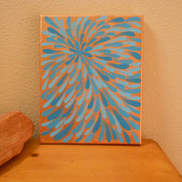 Painting Turquoise and Bronze Flower Aboriginal Inspired by Acires