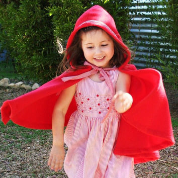 Little Red Riding Hood Costume-  Red Hooded Cape- Imagination Dress up- Halloween