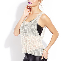 FOREVER 21 Showstopper Embellished Mesh Tank Black/Cream Large