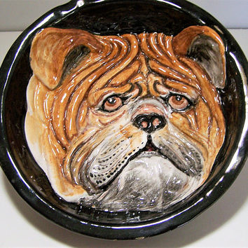 Italian Majolica English Bulldog Plaque, Hand Painted Relief, Bull Dog Bowl, Mid Century Wall Plaque 617