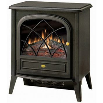 Black Compact Stove Style Electric Fireplace Space Heater with 3D Flame