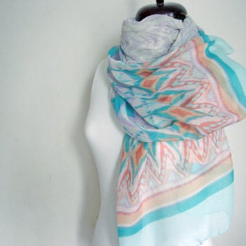 Women Scarf, Mint Shawl, Cotton accessories, Birthday gift for girl, Cotton scarf, Bohemian scarf, Light scarf, Fashion scarf, Trendy scarfs