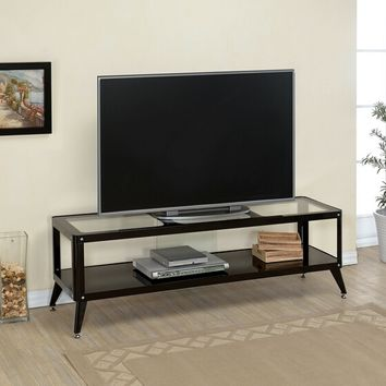 Coller collection retro modern style black metal and glass tv console media stand