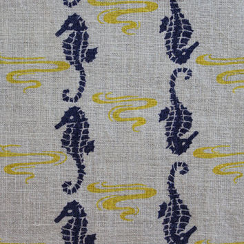 Multiples Avail of 1940's Novelty Full Feed Sack Vintage Fabric / Glory Blue Seahorses & Golden Yellow Swirls