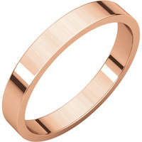 18k Rose-Pink Gold 3mm Flat Wedding Band Ring - Bridal Jewelry: RingSize: 50