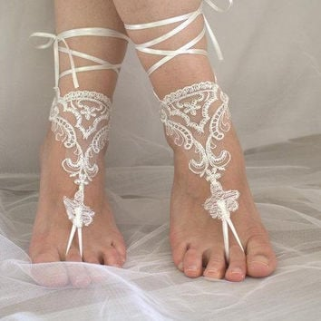 Ivory lace barefoot sandals Flowers wedding sandals, Bridal Lace Shoes Beach wedding barefoot sandals Lariat sandals Bridesmaid