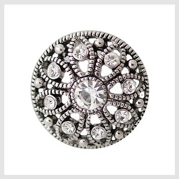 "Snap Charm Antique Filigree Design with Clear Crystals 20mm 3/4"" Diameter"
