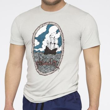 Nautical Octopus & Ship Multi Color Portrait Tee