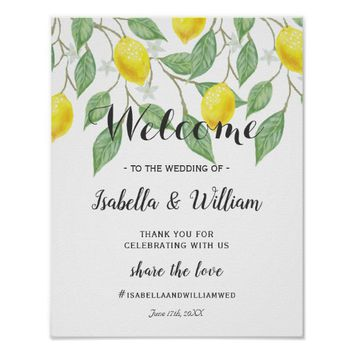 Welcome Sign | Modern Boho Lemon Summer Wedding
