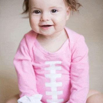 Outlet Sweet as Sugar Pink Football Long Sleeve Ruffled Onesuit