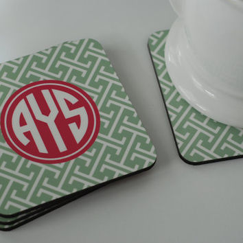 Coasters Cork Back Monogrammed or Personalized by LibbieandWinston