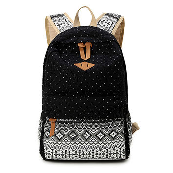 SUNBORLS Brand Canvas Printing Backpack Women Cute School Backpacks for Teenage Girls Vintage Laptop Bag Rucksack Bagpack Female