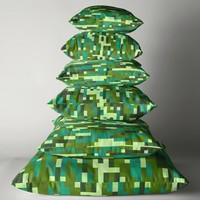 'Green and Turquoise PIxels' Throw Pillow by Christy Leigh