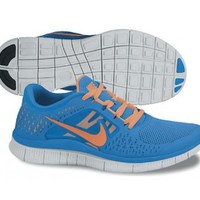Nike Free Run+3 Womens Running Shoes 510643-402 Blue Glow 7 M US