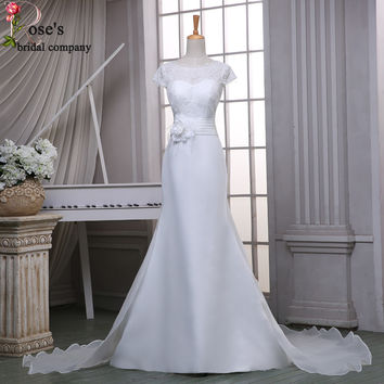 Cap Sleeve Detachable White Simple Wedding Dress Lace Elegant Cheap Bridal Dresses With Removable Skirt Robe Mariage 2016