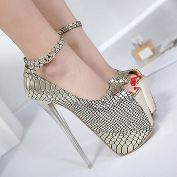 Ankle Wrap High Platform Peep Tope Super High Stiletto Heels Sandals