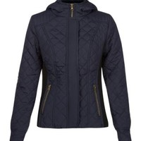 New Look Mobile | Navy Quilted Hood Jacket