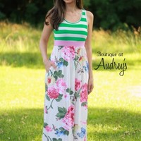Green Stripe and Pink Floral Print Sleeveless Maxi Dress - Boutique At Audrey's