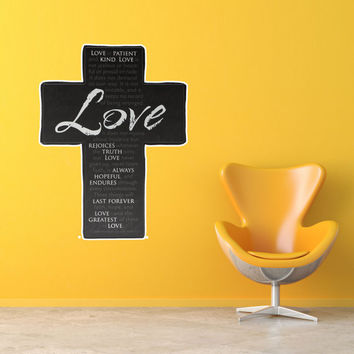 Vector Christian Cross Love is Patient Bible Verse EASY-TO-APPLY Wall Decal Sticker