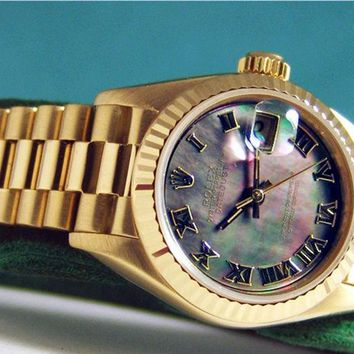 Rolex Lady Datejust President Gold Black Mother of Pearl Roman 69178 WATCH CHEST