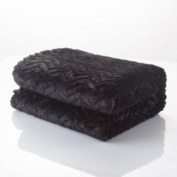 DaDa Bedding Luxury Midnight Black Zig Zag Plush Faux Fur Sherpa Fleece Throw Blanket (3)