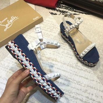 Christian Louboutin New fashion thick bottom rivets women high heel shoes sandals Blue