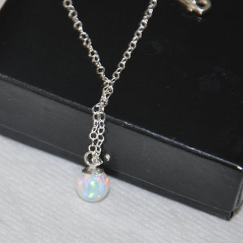 Opal Necklace, Sterling Silver, Pendant Necklace, 6mm ball opal pendant,  Australian Opal, Opal Jewelry, Birthstone Necklace, White Opal