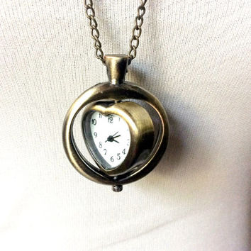 Time for Love: Rotating Heart watch necklace