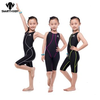 HXBY HOT Competition Racing Training One Piece Swimsuit For Girls Swimwear Kids Children Swimsuit Women Bathing suits Swimsuits