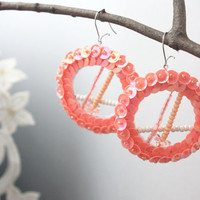 Donut Peach Earrings Melon Sequin embroidered felt by velanch