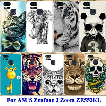 "Cell Phone Skins Case For ASUS Zenfone 3 Zoom ZE553KL Z01HDA 5.5"" Cover Hard PC Soft TPU Silicone Back Cover Painted Phone Shell"