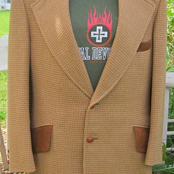 Sexy Sport Coat Saks Mens Tweed Plaid Blazer 1960s Suede Wool Houndstooth 36 / 38 Small