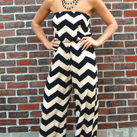 Strapless Chevron Striped Long Romper - Black/Taupe