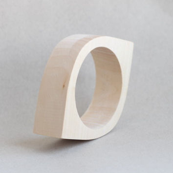30 mm Wooden bangle unfinished eye shape - natural eco friendly NE30