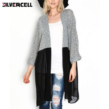 SILVERCELL Women Long Cardigan Patchwork Mesh Sweater Autumn Lady Chic Knitted Cardigans Casual Women Tops Open Stitch XXXL