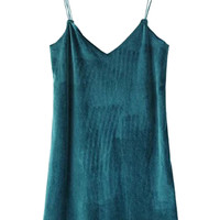 Teal Blue V-neck Spaghetti Strap Velvet Mini Dress