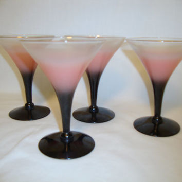 Vintage Mid Century Modern 1950s Cocktail Ladies Martini Glasses, Set of 4, Pink Black Gold Rim