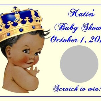 10 Prince Baby Shower Scratch Off Cards Dark Skin