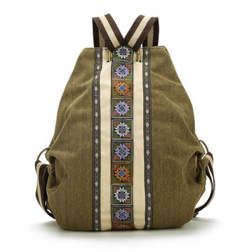 High Quality Vintage Ethnic Canvas Backpacks for Women Embroidered Rucksack sac a dos femme Shoulder Bag Travel Boho Mochila