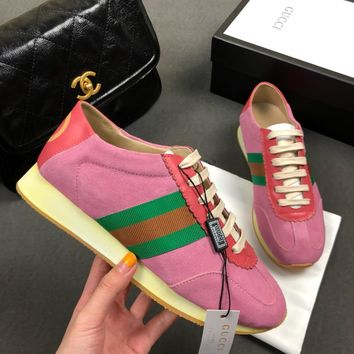 GUCCI  Leather striped ribbon suede sneakers