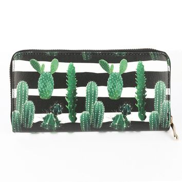 Black and White Cactus Striped Print Vinyl Clutch Wallet Bag Accessory